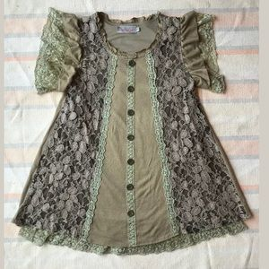 Pretty Angel Lace Blouse Small Green Short Sleeve